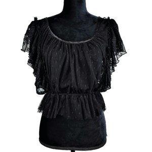 Free People Women's L Black Ruffled Crop Lace